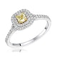 Natasha Yellow Diamond Halo Engagement Ring 0.53ct 18K White Gold - image 1