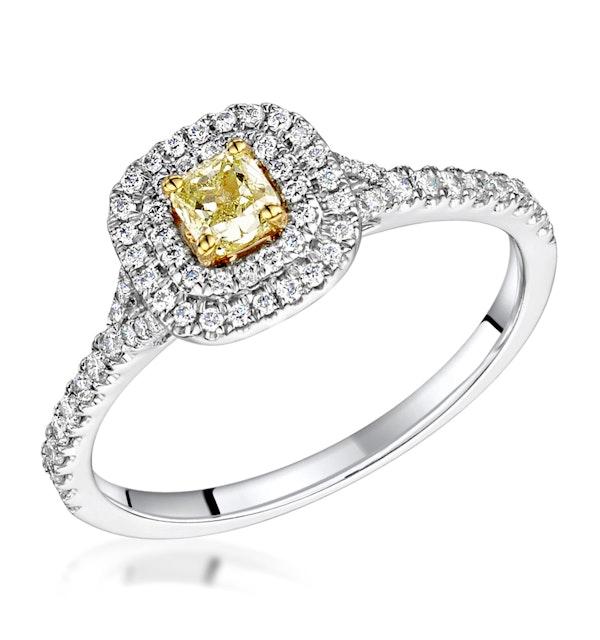 Natasha Yellow Diamond Halo Engagement Ring 0.53ct 18K White Gold - image 1