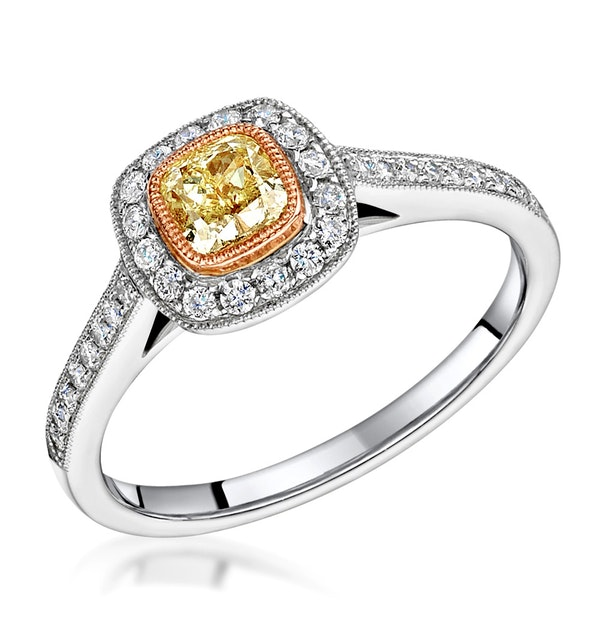 Leila Yellow Diamond Halo Milgrain Engagement Ring 1.46ct Platinum - image 1