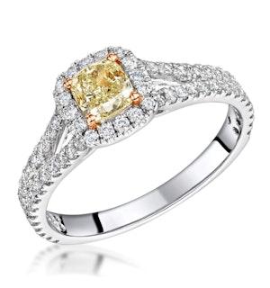 Victoria Yellow Diamond Halo Engagement Ring 1.60ct in Platinum