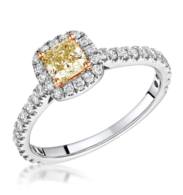 Katarin Yellow Diamond Halo Engagement Ring 1.32ct Platinum - image 1