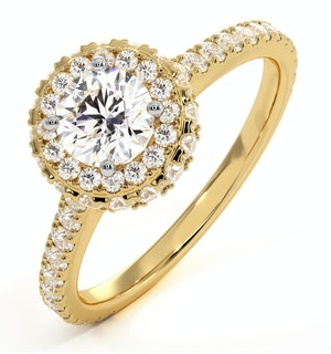 Valerie GIA Diamond Halo Engagement Ring in 18K Gold 1.10ct G/SI1