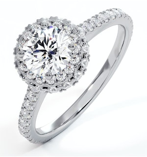 Valerie GIA Diamond Halo Engagement Ring in Platinum 1.40ct G/SI1