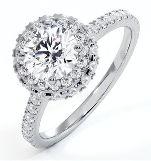 Valerie GIA Diamond Halo Engagement Ring 18K White Gold 1.60ct G/SI1