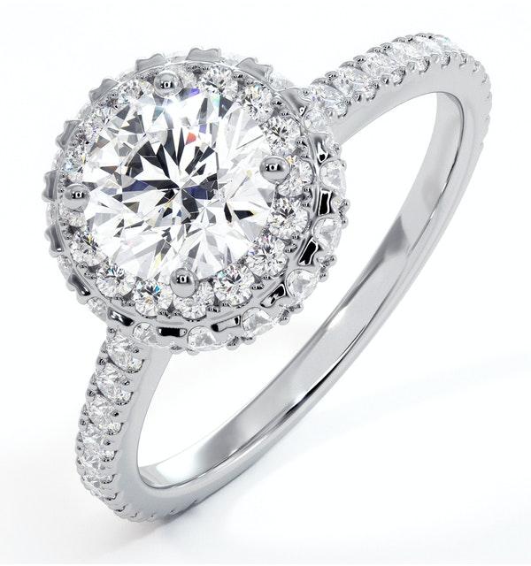 Valerie GIA Diamond Halo Engagement Ring in Platinum 1.60ct G/VS2 - image 1