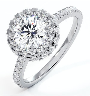 Valerie GIA Diamond Halo Engagement Ring 18K White Gold 1.80ct G/VS2