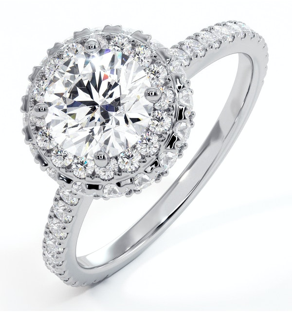 Valerie GIA Diamond Halo Engagement Ring 18K White Gold 1.80ct G/SI2 - image 1