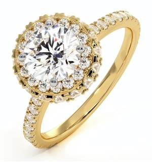 Valerie GIA Diamond Halo Engagement Ring in 18K Gold 1.80ct G/VS1