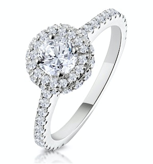Valerie GIA Diamond Halo Engagement Ring 18K White Gold 1.10ct G/SI2