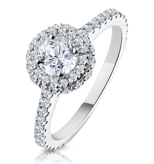 Valerie GIA Diamond Halo Engagement Ring 18K White Gold 1.10ct G/VS1 - image 1