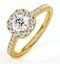 Elizabeth GIA Diamond Halo Engagement Ring in 18K Gold 1.00ct G/VS2 - image 1