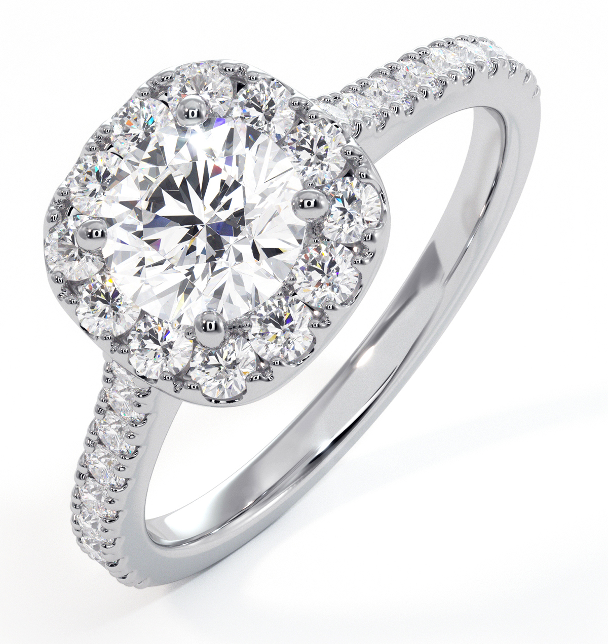 Elizabeth GIA Diamond Halo Engagement Ring 18K White Gold 1.30ct G/VS1 - image 1