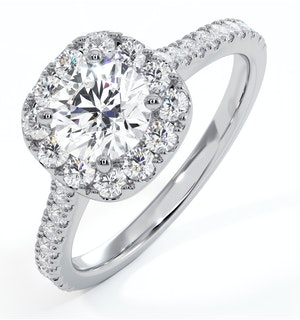 Elizabeth GIA Diamond Halo Engagement Ring 18K White Gold 1.30ct G/VS1