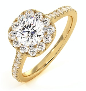 Elizabeth GIA Diamond Halo Engagement Ring in 18K Gold 1.30ct G/VS1