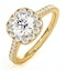 Elizabeth GIA Diamond Halo Engagement Ring in 18K Gold 1.30ct G/SI2 - image 1