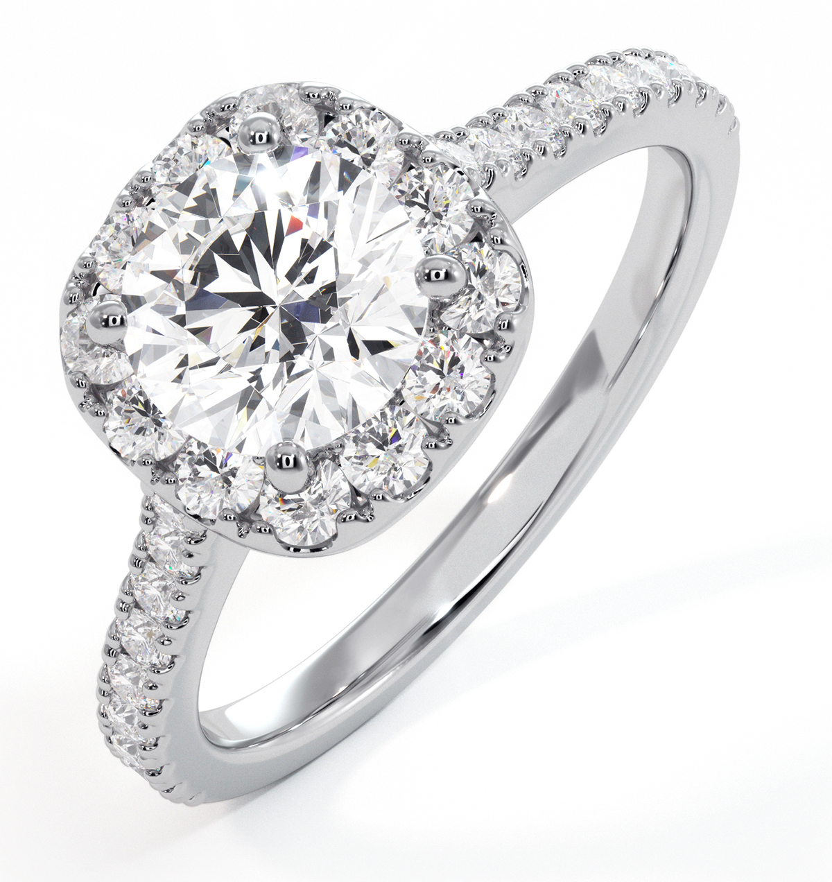 Elizabeth GIA Diamond Halo Engagement Ring 18K White Gold 1.50ct G/SI2 - image 1