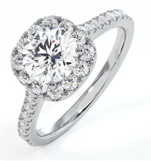 Elizabeth GIA Diamond Halo Engagement Ring in Platinum 1.50ct G/SI1