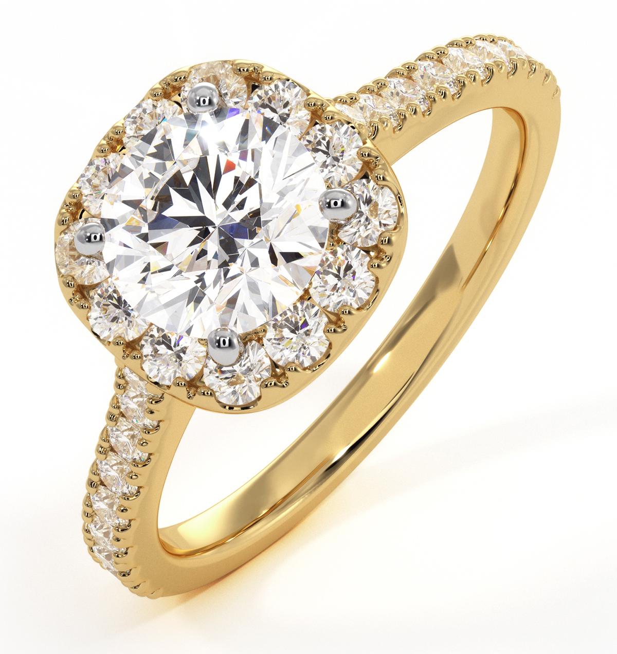 Elizabeth GIA Diamond Halo Engagement Ring in 18K Gold 1.50ct G/SI2 - image 1