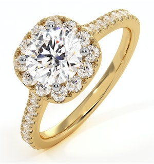 Elizabeth GIA Diamond Halo Engagement Ring in 18K Gold 1.50ct G/SI1