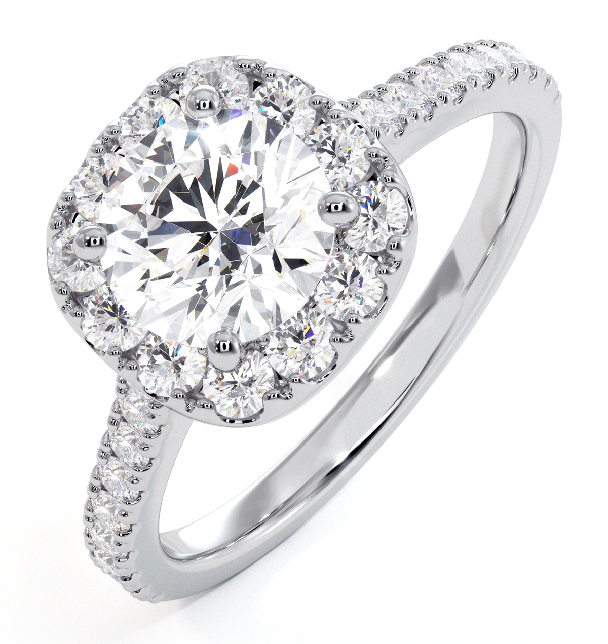 Elizabeth Lab Diamond Halo Engagement Ring in Platinum 2.50ct G/SI1 - image 1