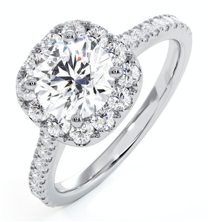 Elizabeth Lab Diamond Halo Engagement Ring 18K White Gold 2.50ct G/VS1