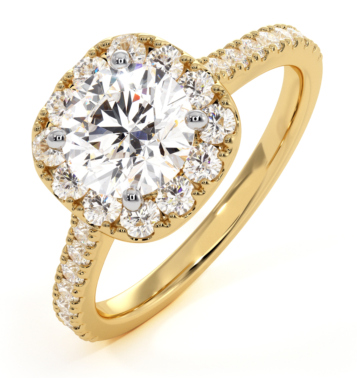 Elizabeth GIA Diamond Halo Engagement Ring in 18K Gold 1.70ct G/VS1 - image 1