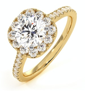 Elizabeth GIA Diamond Halo Engagement Ring in 18K Gold 1.70ct G/VS1
