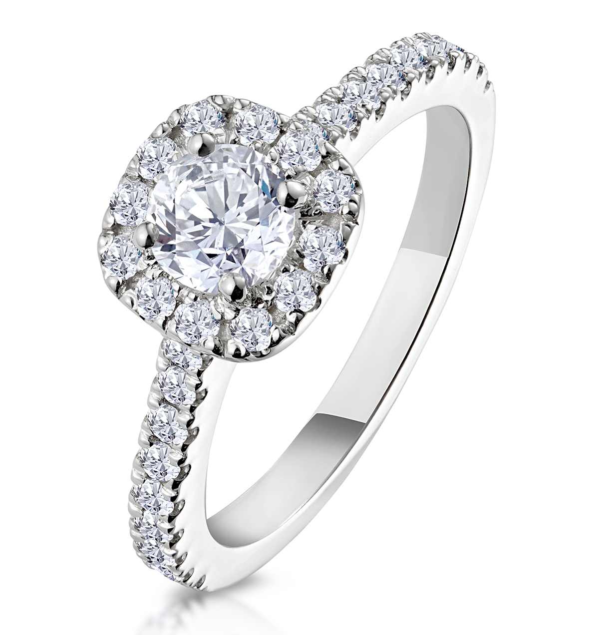Elizabeth GIA Diamond Halo Engagement Ring in Platinum 1.00ct G/VS2 - image 1