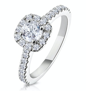 Elizabeth GIA Diamond Halo Engagement Ring 18K White Gold 1.00ct G/SI2
