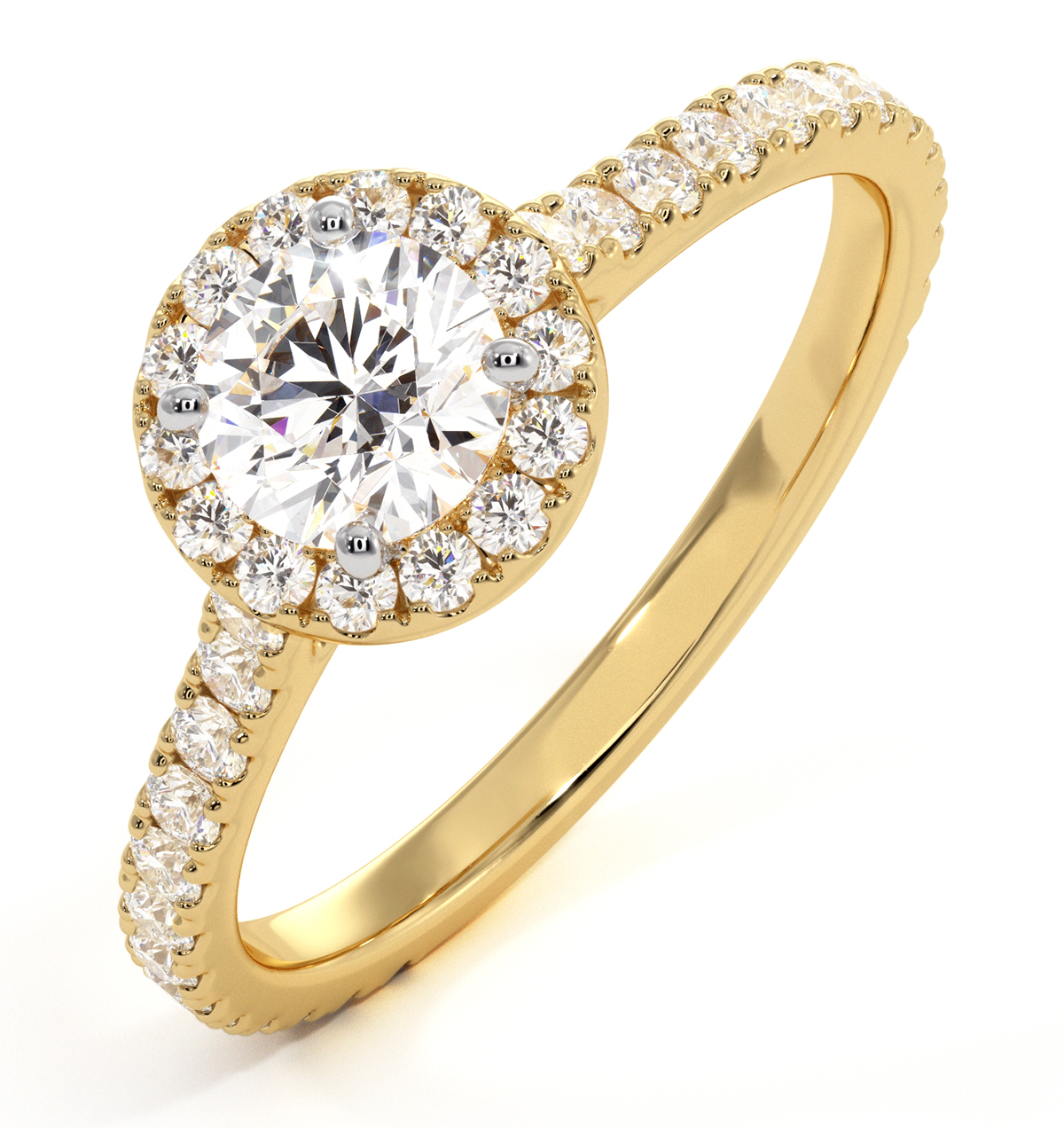 Reina GIA Diamond Halo Engagement Ring in 18K Gold 1.10ct G/VS1 - image 1