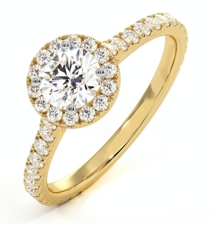 Reina GIA Diamond Halo Engagement Ring in 18K Gold 1.10ct G/SI2