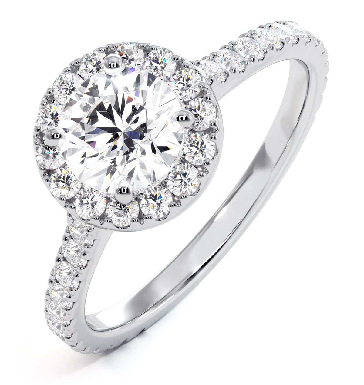 Reina GIA Diamond Halo Engagement Ring in 18K White Gold 1.40ct G/SI2 - image 1