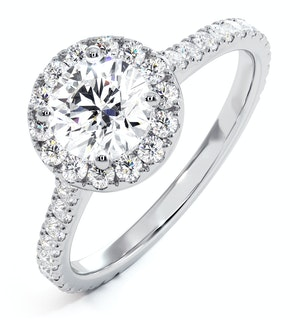 Reina GIA Diamond Halo Engagement Ring in Platinum 1.40ct G/VS1