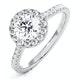 Reina GIA Diamond Halo Engagement Ring in 18K White Gold 1.40ct G/SI1 - image 1