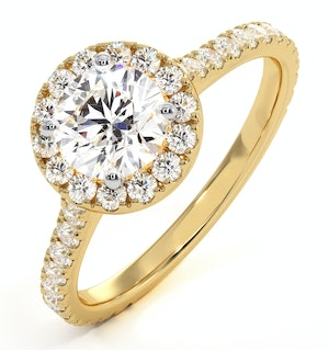 Reina GIA Diamond Halo Engagement Ring in 18K Gold 1.40ct G/VS1