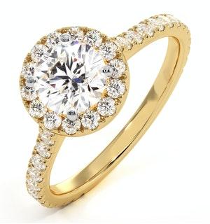 Reina GIA Diamond Halo Engagement Ring in 18K Gold 1.40ct G/SI1