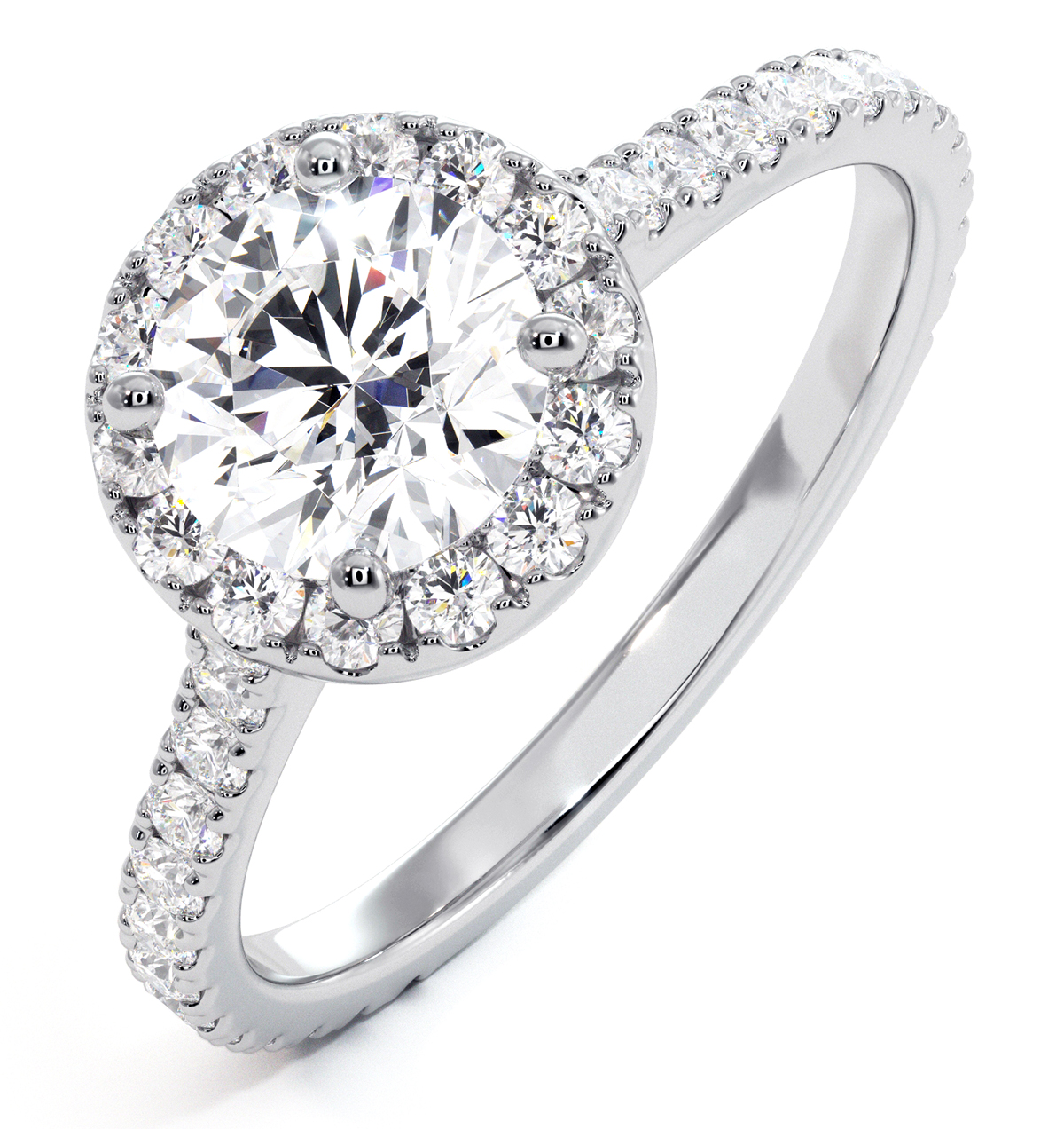 Reina GIA Diamond Halo Engagement Ring in Platinum 1.60ct G/VS1 - image 1