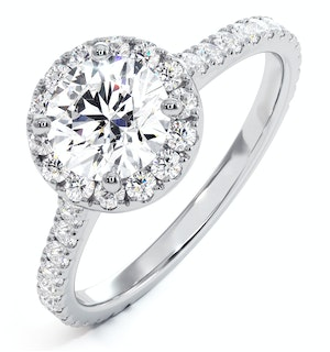 Reina GIA Diamond Halo Engagement Ring in Platinum 1.60ct G/VS2