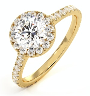 Reina GIA Diamond Halo Engagement Ring in 18K Gold 1.60ct G/VS2