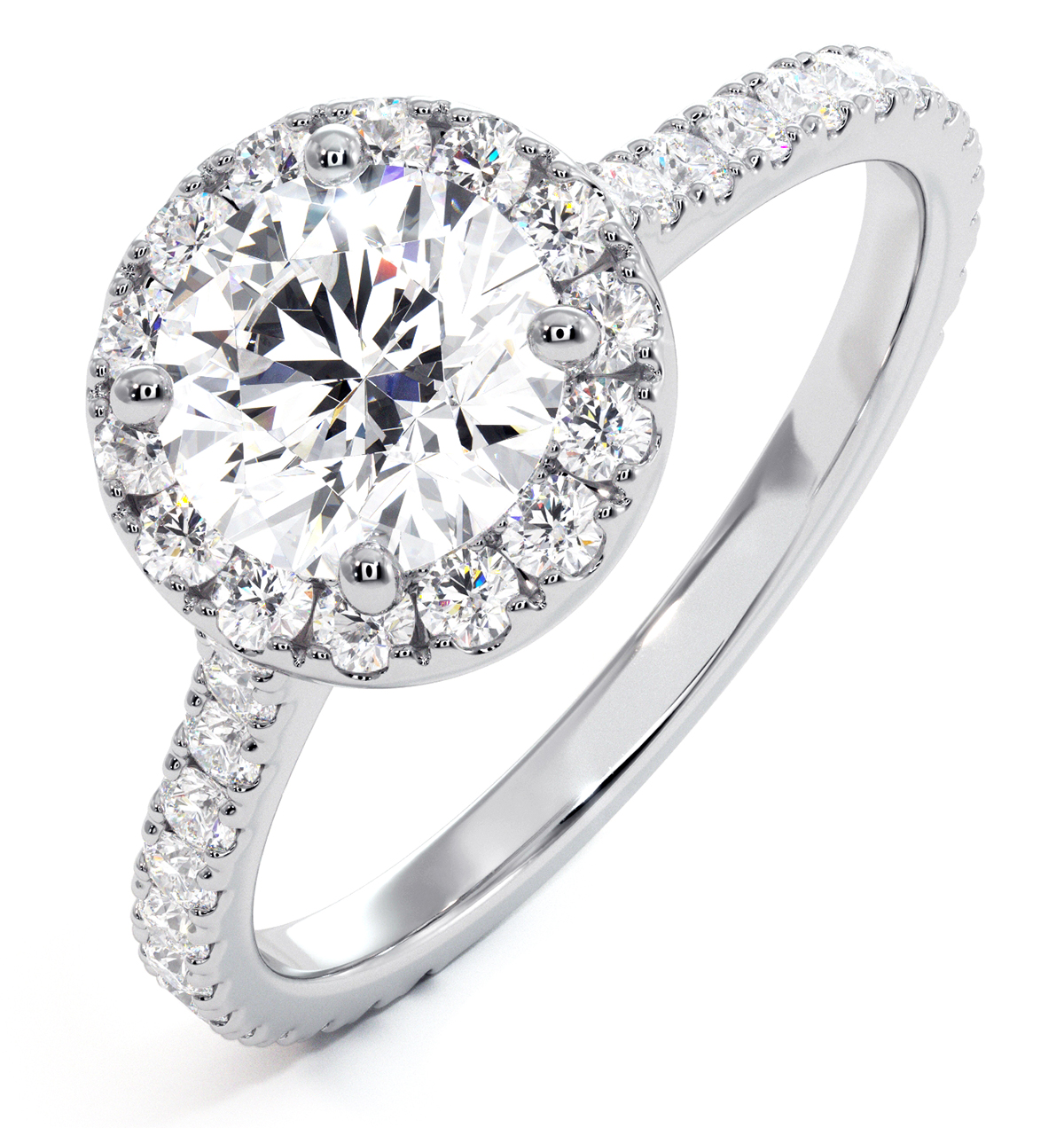 Reina GIA Diamond Halo Engagement Ring in 18K White Gold 1.80ct G/VS1 - image 1