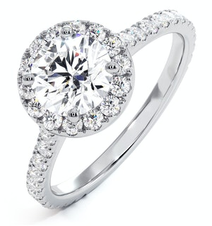 Reina GIA Diamond Halo Engagement Ring in 18K White Gold 1.80ct G/VS2