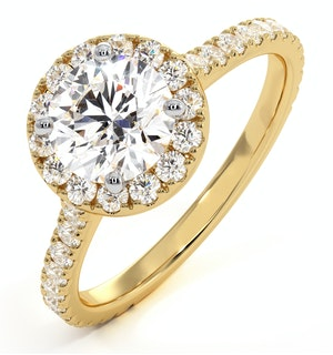 Reina GIA Diamond Halo Engagement Ring in 18K Gold 1.80ct G/VS1