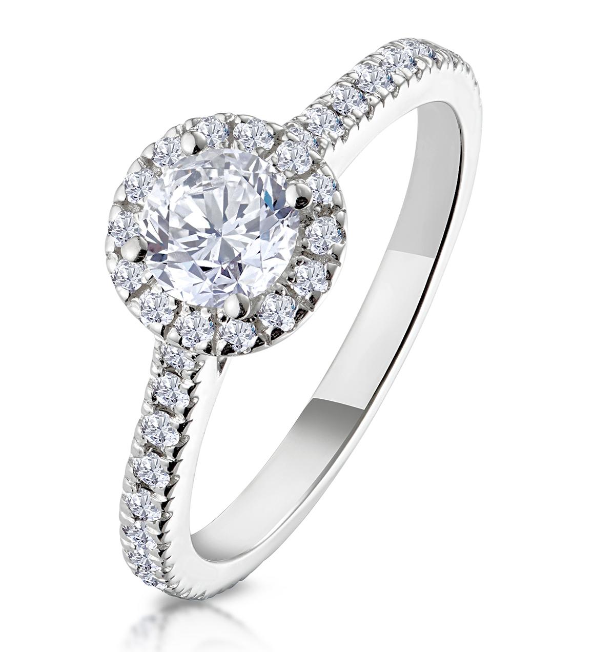 Reina GIA Diamond Halo Engagement Ring in 18K White Gold 1.10ct G/VS1 - image 1