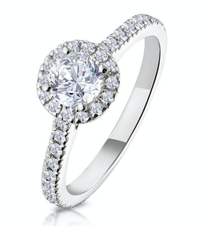 Reina GIA Diamond Halo Engagement Ring in Platinum 1.10ct G/SI2