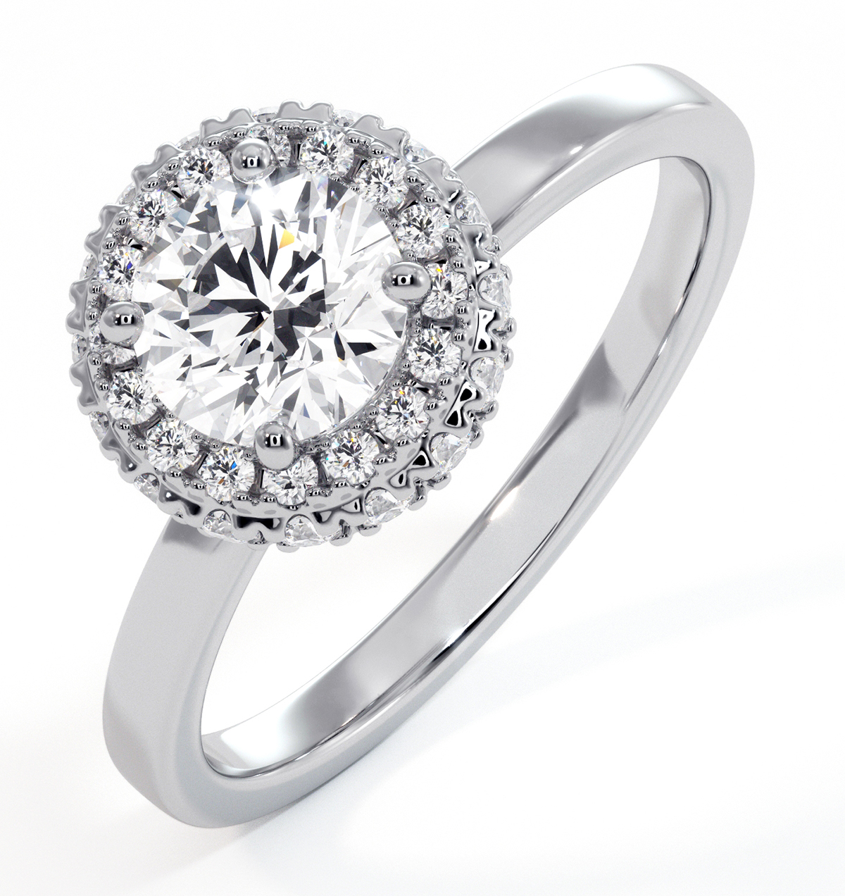 Eleanor GIA Diamond Halo Engagement Ring in Platinum 0.87ct G/SI2 - image 1