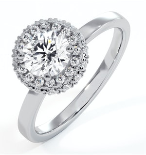 Eleanor GIA Diamond Halo Engagement Ring in Platinum 0.87ct G/SI2