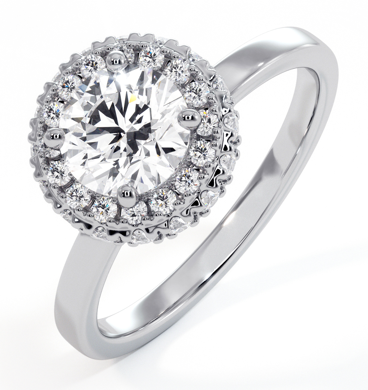 Eleanor GIA Diamond Halo Engagement Ring 18K White Gold 1.09ct G/SI2 - image 1