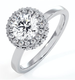 Eleanor GIA Diamond Halo Engagement Ring in Platinum 1.09ct G/VS1