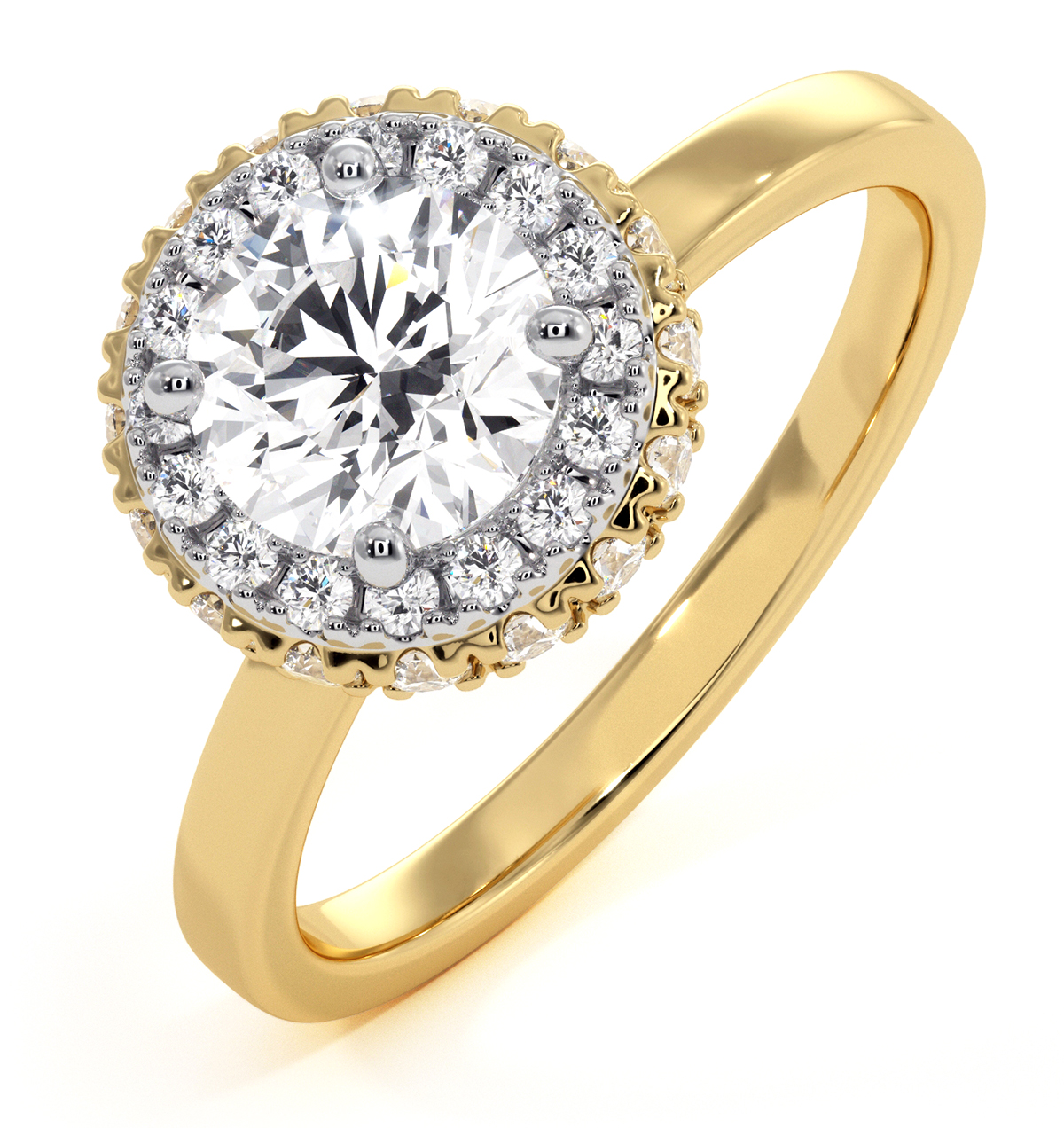 Eleanor GIA Diamond Halo Engagement Ring in 18K Gold 1.09ct G/VS1 - image 1