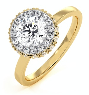 Eleanor GIA Diamond Halo Engagement Ring in 18K Gold 1.09ct G/VS1